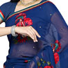 Navy Blue Georgette Handwork Saree